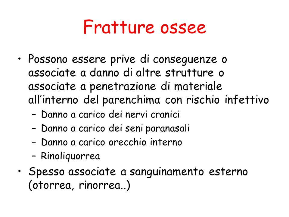 Fratture ossee Frattura penetrante Frattura affondata Frattura orbita Frattura lineare