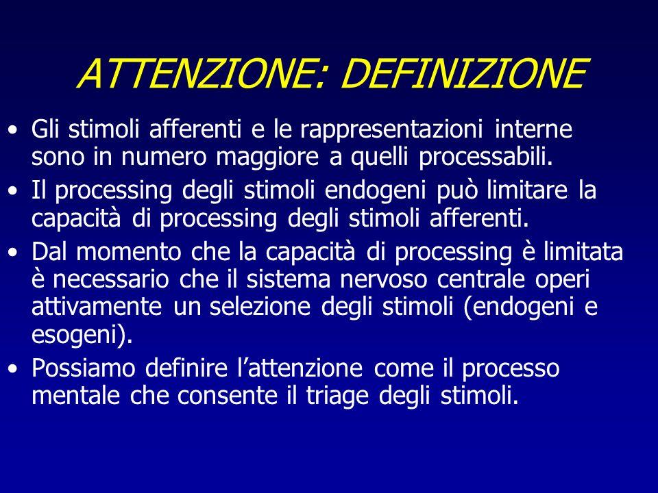 ATTENZIONE: DEFINIZIONE Gli stimoli afferenti e le rappresentazioni interne sono in numero maggiore a quelli processabili. Il processing degli stimoli