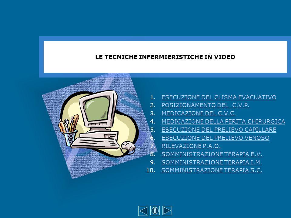 ESECUZIONE DEL CLISMA EVACUATIVO 1° - Preparazione del materiale 2° - Preparazione della persona 3° - Esecuzione della tecnica - conclusione LE TECNICHE INFERMIERISTICHE IN VIDEO http://medtriennaliao.campusnet.unito.it/didattica/att/da73.3336.file.zip http://medtriennaliao.campusnet.unito.it/didattica/att/d024.2309.file.zip http://medtriennaliao.campusnet.unito.it/didattica/att/e507.7623.file.zip