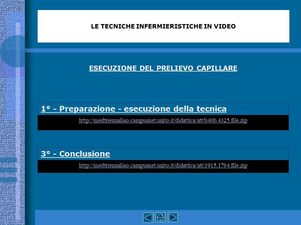 ESECUZIONE DEL PRELIEVO CAPILLARE 1° - Preparazione - esecuzione della tecnica 3° - Conclusione LE TECNICHE INFERMIERISTICHE IN VIDEO http://medtrienn