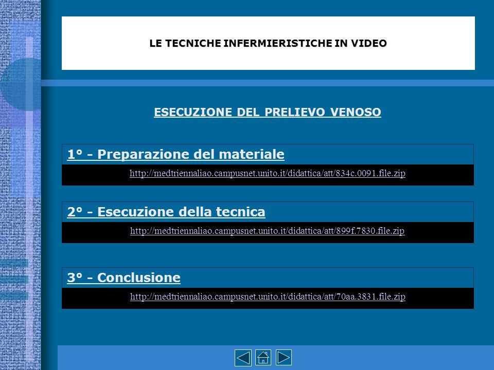 ESECUZIONE DEL PRELIEVO VENOSO 1° - Preparazione del materiale 2° - Esecuzione della tecnica 3° - Conclusione LE TECNICHE INFERMIERISTICHE IN VIDEO ht