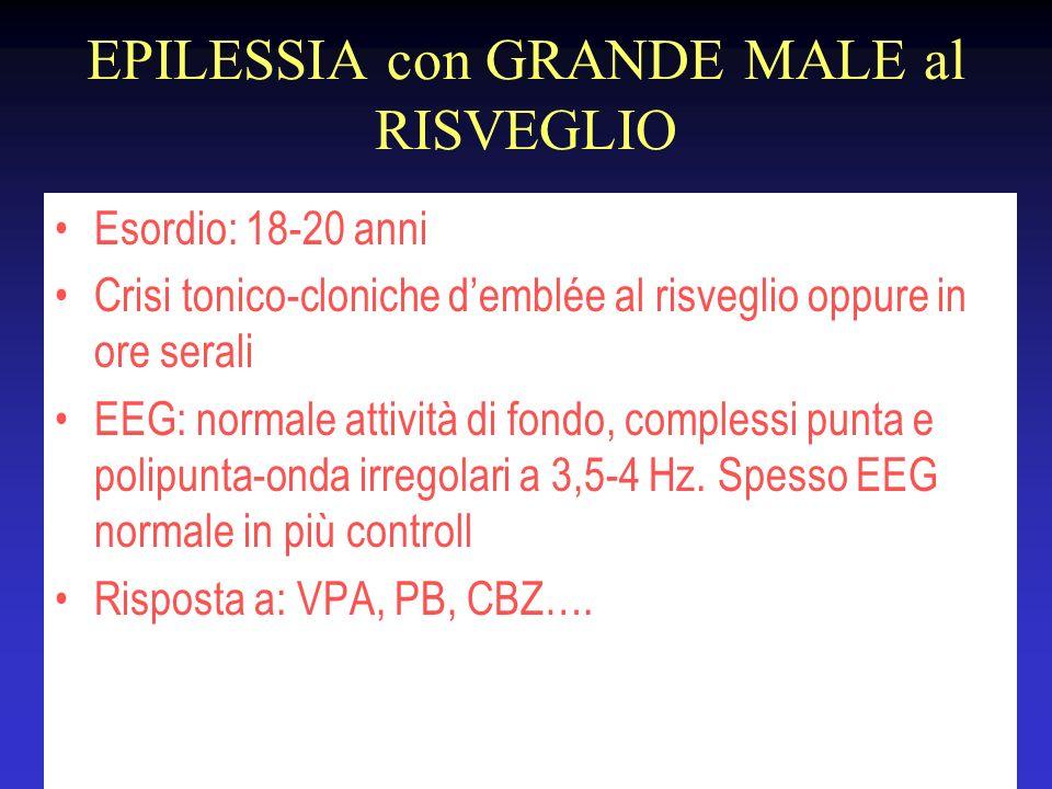EPILESSIA con GRANDE MALE al RISVEGLIO Esordio: 18-20 anni Crisi tonico-cloniche demblée al risveglio oppure in ore serali EEG: normale attività di fo