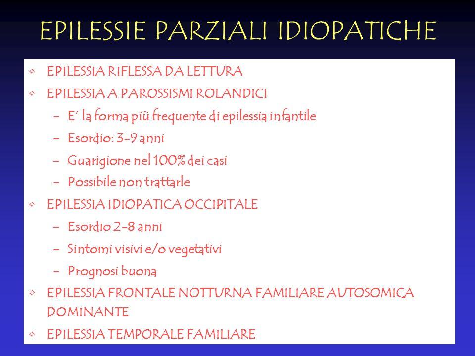 EPILESSIE PARZIALI IDIOPATICHE EPILESSIA RIFLESSA DA LETTURA EPILESSIA A PAROSSISMI ROLANDICI –E la forma più frequente di epilessia infantile –Esordi