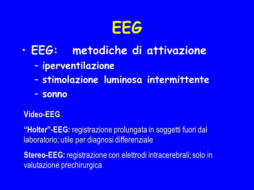 EEG EEG: metodiche di attivazione –iperventilazione –stimolazione luminosa intermittente –sonno Video-EEG Holter-EEG: registrazione prolungata in sogg