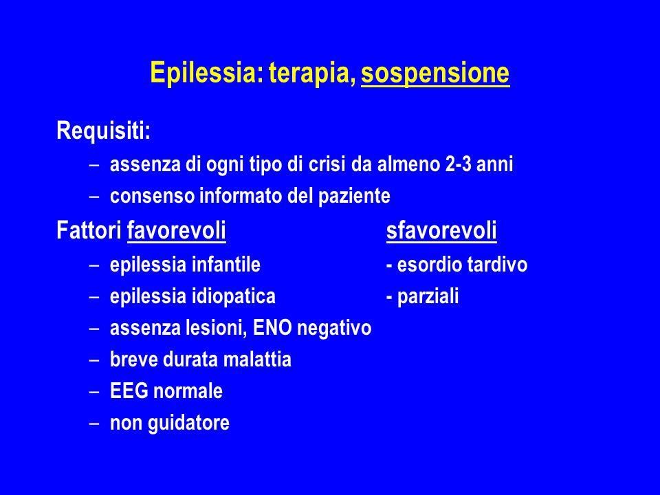 Epilessia: terapia, sospensione Requisiti: – assenza di ogni tipo di crisi da almeno 2-3 anni – consenso informato del paziente Fattori favorevolisfav