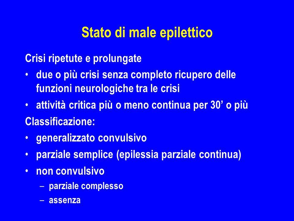 Stato di male epilettico Crisi ripetute e prolungate due o più crisi senza completo ricupero delle funzioni neurologiche tra le crisi attività critica