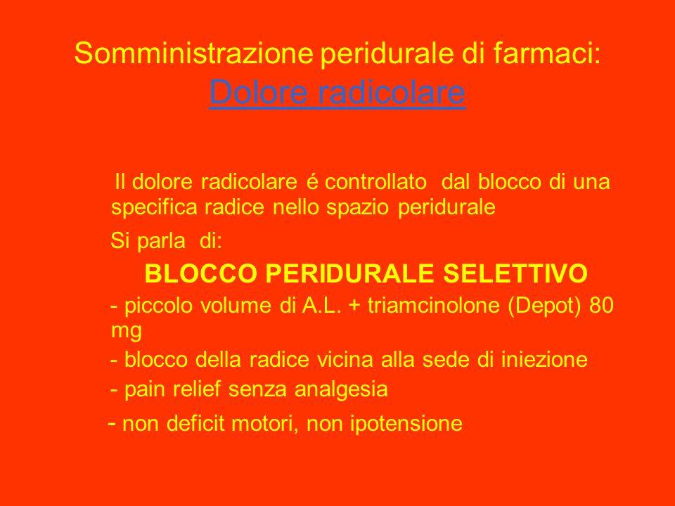 Somministrazione peridurale di farmaci : dolore tissutale Nel dolore post-operatorio, post-traumatico o nella colica renale é indicato il posizionamen