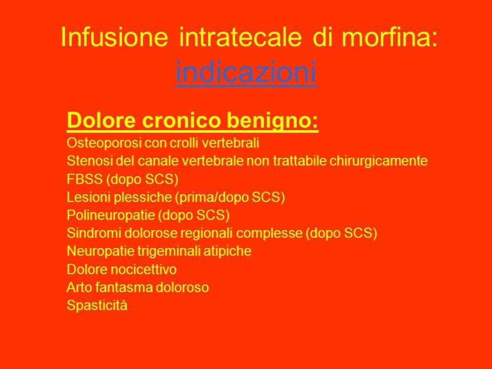Infusione intratecale di morfina: indicazioni Dolore oncologico: nel 2 -6 % dei pazienti neoplastici il dolore non é controllato dalla somministrazion