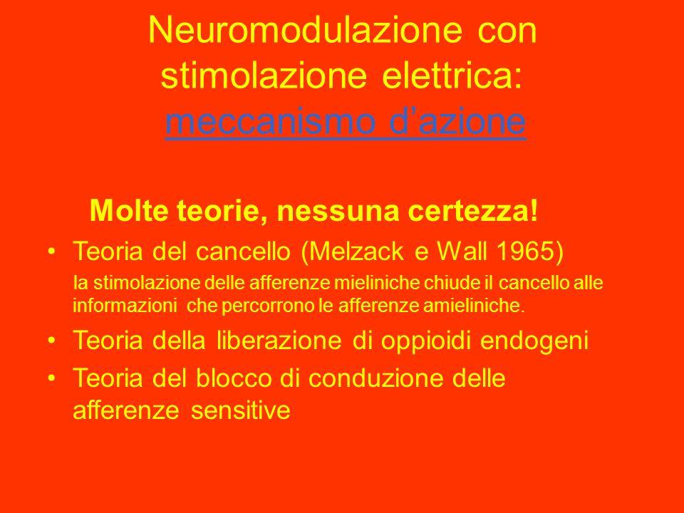 Neuromodulazione con stimolazione elettrica: Cronologia 1967 Shelden PNS Ganglio di Gasser Wall e Sweet PNS rami di nervi spinali Shealy SCS 1973 Maza