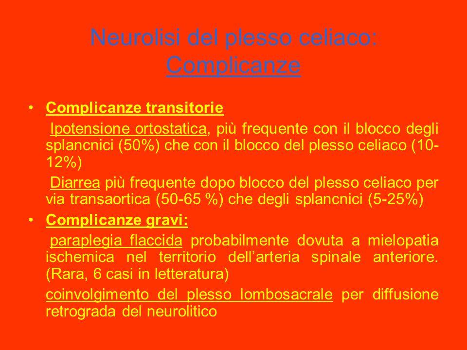 Neurolisi del plesso celiaco: Indicazioni e tecnica Indicazioni: Dolore viscerale neoplastico con elettiva indicazione nel K pancreatico Tecnica: Bloc