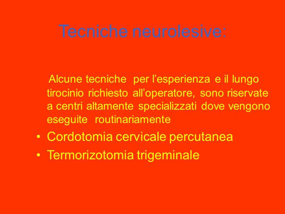 Neurolisi del plesso celiaco e degli splancnici: risultati Ottimi risultati quando il dolore é ancora solo viscerale (fase precoce) Il blocco non elim