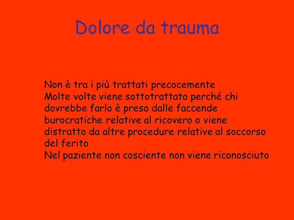 Dolore da trauma Non è tra i più trattati precocemente Molte volte viene sottotrattato perché chi dovrebbe farlo è preso dalle faccende burocratiche relative al ricovero o viene distratto da altre procedure relative al soccorso del ferito Nel paziente non cosciente non viene riconosciuto