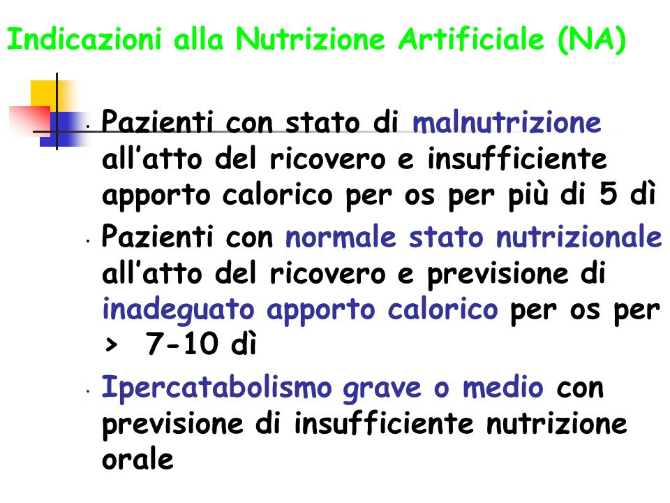Indicazioni alla Nutrizione Artificiale (NA) Pazienti con stato di malnutrizione allatto del ricovero e insufficiente apporto calorico per os per più