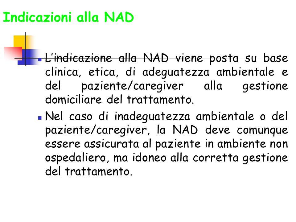 Indicazioni alla NAD Lindicazione alla NAD viene posta su base clinica, etica, di adeguatezza ambientale e del paziente/caregiver alla gestione domici
