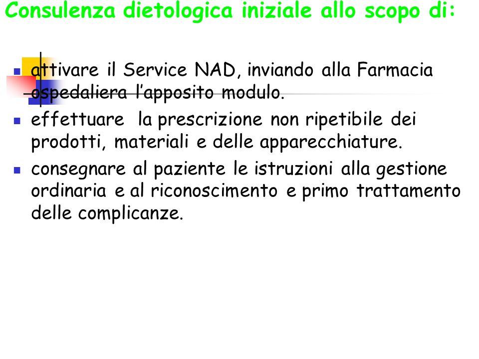 Consulenza dietologica iniziale allo scopo di: attivare il Service NAD, inviando alla Farmacia ospedaliera lapposito modulo. effettuare la prescrizion