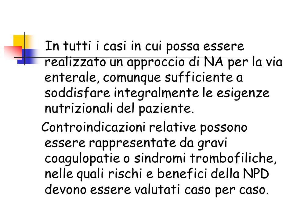 Controindicazioni alla NPD In tutti i casi in cui possa essere realizzato un approccio di NA per la via enterale, comunque sufficiente a soddisfare in