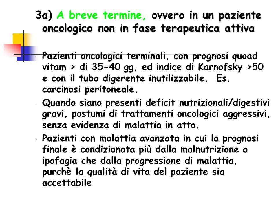 in un paziente oncologico non in fase terapeutica attiva 3a) A breve termine, ovvero in un paziente oncologico non in fase terapeutica attiva Pazienti