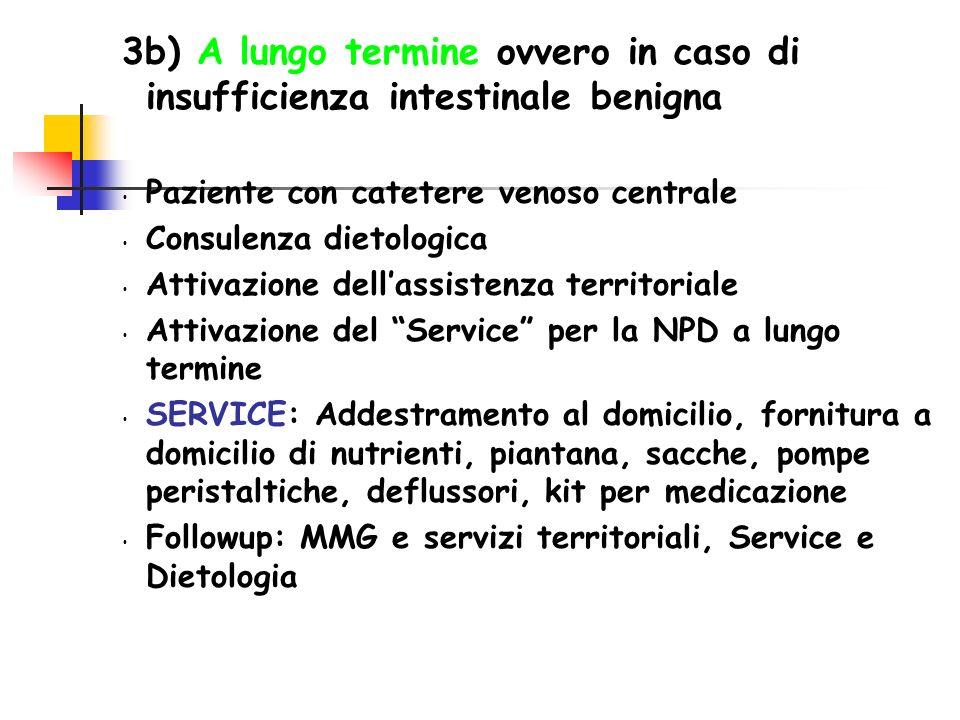3b) A lungo termine ovvero in caso di insufficienza intestinale benigna Paziente con catetere venoso centrale Consulenza dietologica Attivazione della
