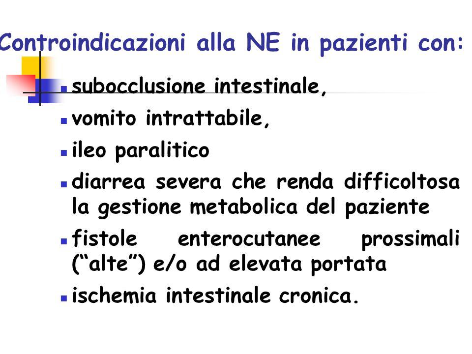Controindicazioni alla NE in pazienti con: subocclusione intestinale, vomito intrattabile, ileo paralitico diarrea severa che renda difficoltosa la ge