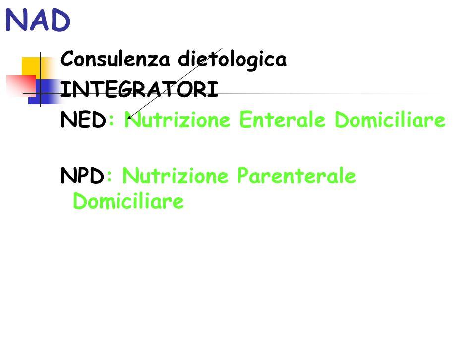 NAD La NAD consente di trattare a domicilio pazienti, che altrimenti avrebbero necessità di ricovero ospedaliero per ricevere il solo trattamento nutrizionale.