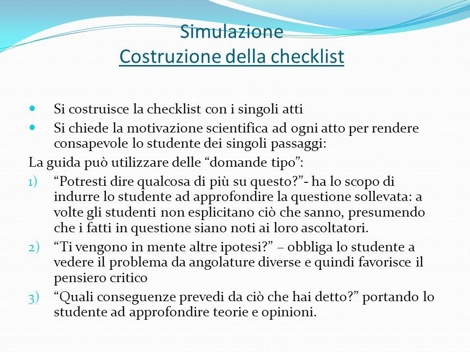 Simulazione Costruzione della checklist Si costruisce la checklist con i singoli atti Si chiede la motivazione scientifica ad ogni atto per rendere co