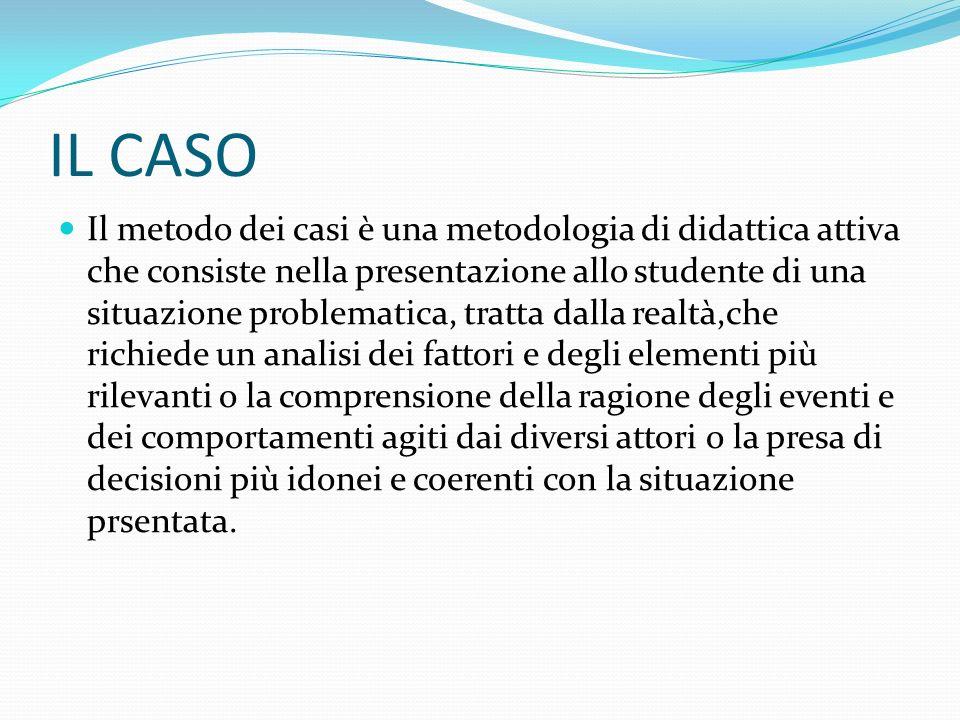 IL CASO Il metodo dei casi è una metodologia di didattica attiva che consiste nella presentazione allo studente di una situazione problematica, tratta