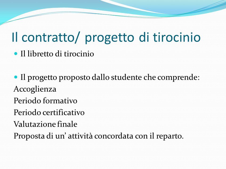 Il contratto/ progetto di tirocinio Il libretto di tirocinio Il progetto proposto dallo studente che comprende: Accoglienza Periodo formativo Periodo