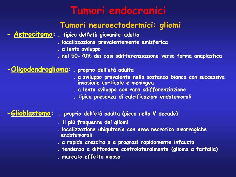 Tumori endocranici Tumori neuroectodermici: gliomi - Astrocitoma:. tipico delletà giovanile-adulta. localizzazione prevalentemente emisferica. a lento