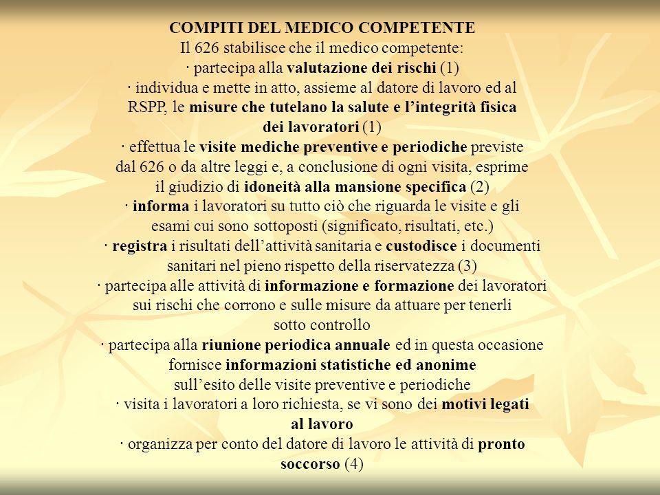 COMPITI DEL MEDICO COMPETENTE Il 626 stabilisce che il medico competente: · partecipa alla valutazione dei rischi (1) · individua e mette in atto, ass