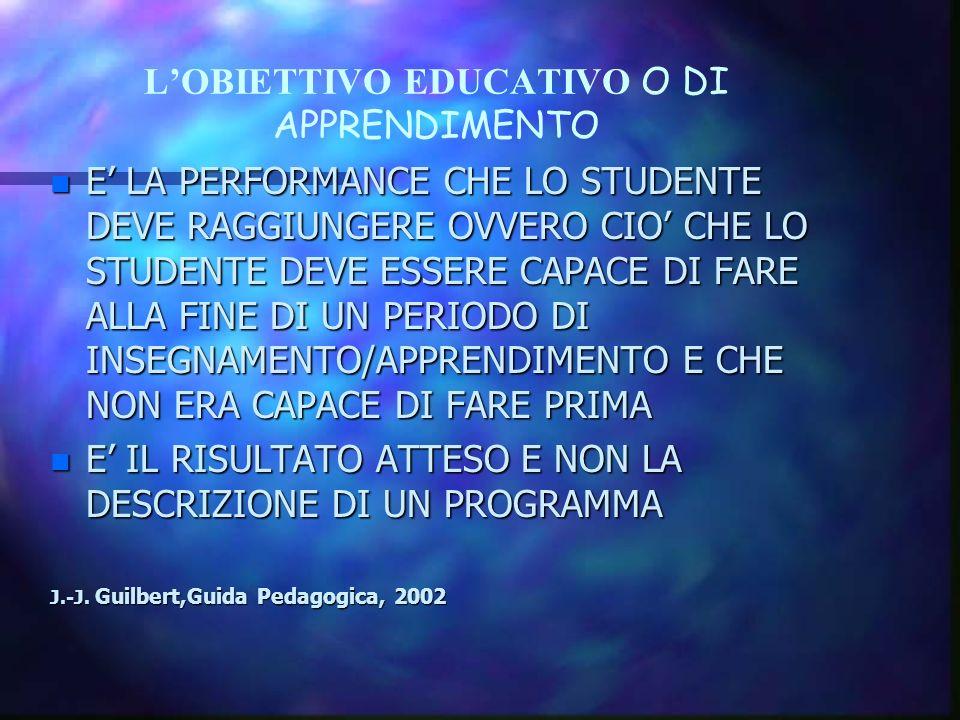 LOBIETTIVO EDUCATIVO O DI APPRENDIMENTO n E LA PERFORMANCE CHE LO STUDENTE DEVE RAGGIUNGERE OVVERO CIO CHE LO STUDENTE DEVE ESSERE CAPACE DI FARE ALLA FINE DI UN PERIODO DI INSEGNAMENTO/APPRENDIMENTO E CHE NON ERA CAPACE DI FARE PRIMA n E IL RISULTATO ATTESO E NON LA DESCRIZIONE DI UN PROGRAMMA J.-J.