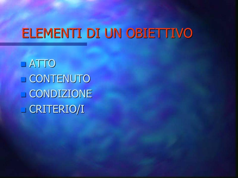 ELEMENTI DI UN OBIETTIVO n ATTO n CONTENUTO n CONDIZIONE n CRITERIO/I