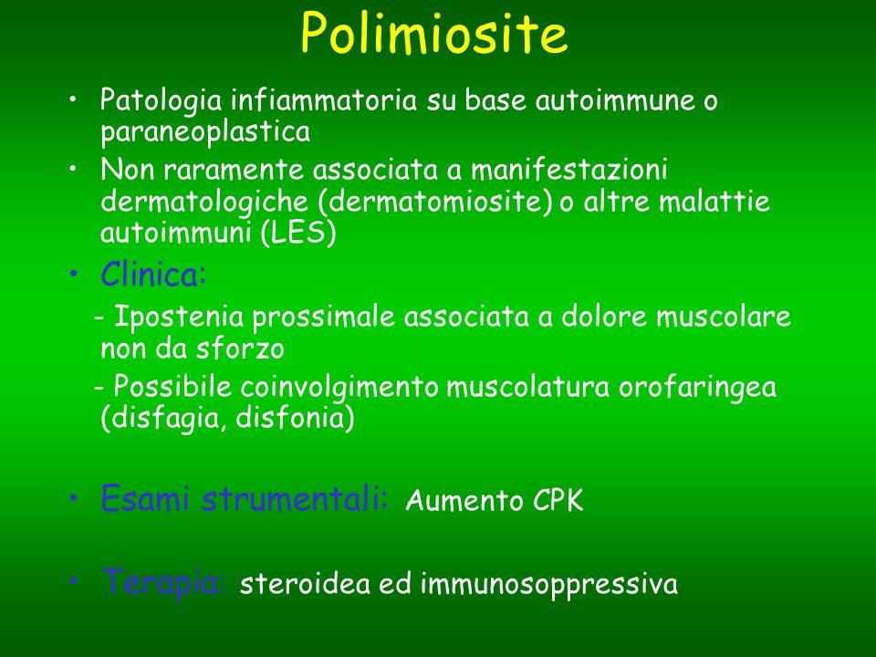 Polimiosite Patologia infiammatoria su base autoimmune o paraneoplastica Non raramente associata a manifestazioni dermatologiche (dermatomiosite) o al