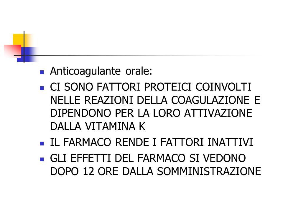 Anticoagulante orale: CI SONO FATTORI PROTEICI COINVOLTI NELLE REAZIONI DELLA COAGULAZIONE E DIPENDONO PER LA LORO ATTIVAZIONE DALLA VITAMINA K IL FARMACO RENDE I FATTORI INATTIVI GLI EFFETTI DEL FARMACO SI VEDONO DOPO 12 ORE DALLA SOMMINISTRAZIONE