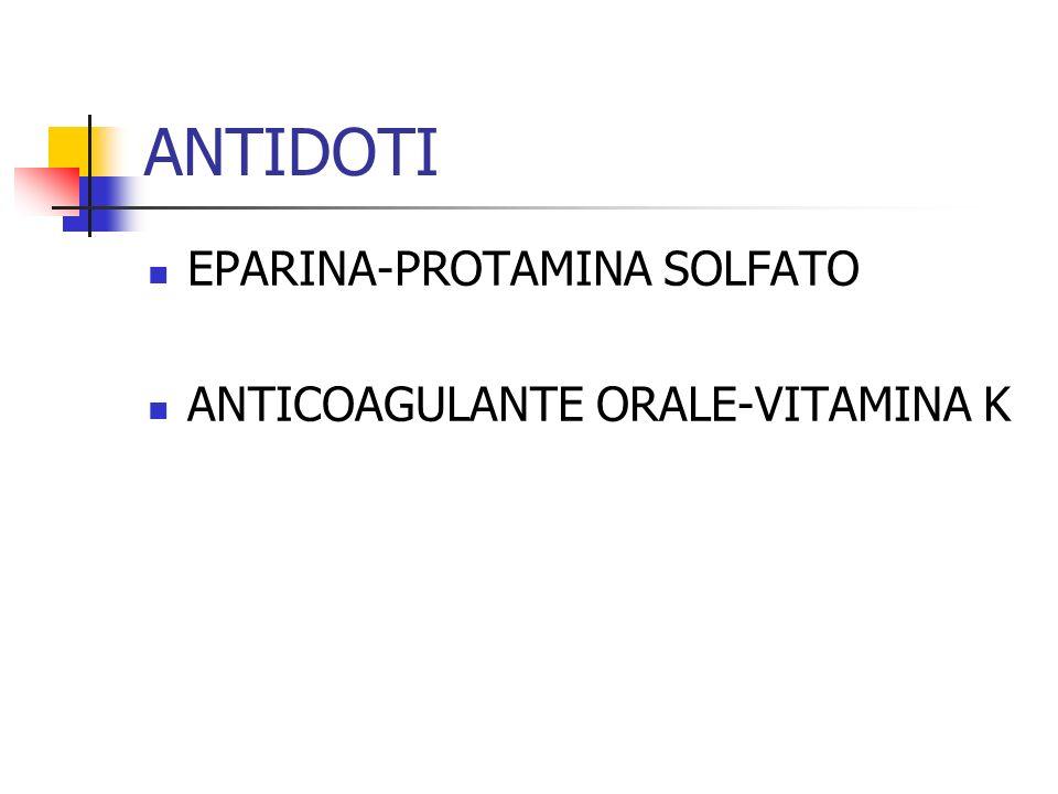 ANTIDOTI EPARINA-PROTAMINA SOLFATO ANTICOAGULANTE ORALE-VITAMINA K