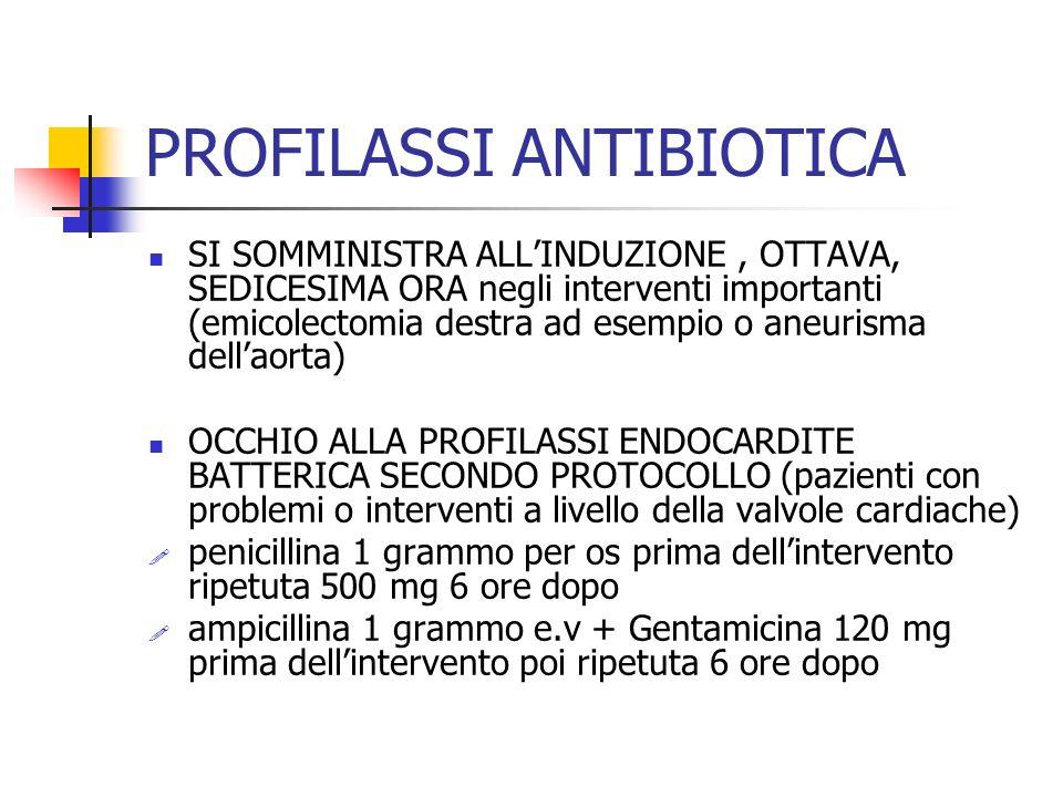 PROFILASSI ANTIBIOTICA SI SOMMINISTRA ALLINDUZIONE, OTTAVA, SEDICESIMA ORA negli interventi importanti (emicolectomia destra ad esempio o aneurisma dellaorta) OCCHIO ALLA PROFILASSI ENDOCARDITE BATTERICA SECONDO PROTOCOLLO (pazienti con problemi o interventi a livello della valvole cardiache) penicillina 1 grammo per os prima dellintervento ripetuta 500 mg 6 ore dopo ampicillina 1 grammo e.v + Gentamicina 120 mg prima dellintervento poi ripetuta 6 ore dopo