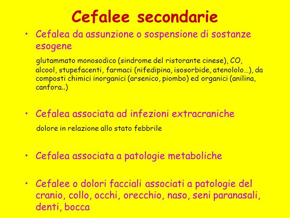 Cefalee secondarie Cefalea da assunzione o sospensione di sostanze esogene glutammato monosodico (sindrome del ristorante cinese), CO, alcool, stupefa