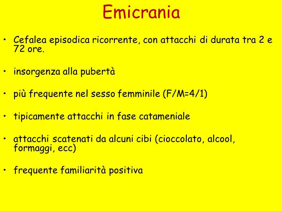 Emicrania Cefalea episodica ricorrente, con attacchi di durata tra 2 e 72 ore. insorgenza alla pubertà più frequente nel sesso femminile (F/M=4/1) tip