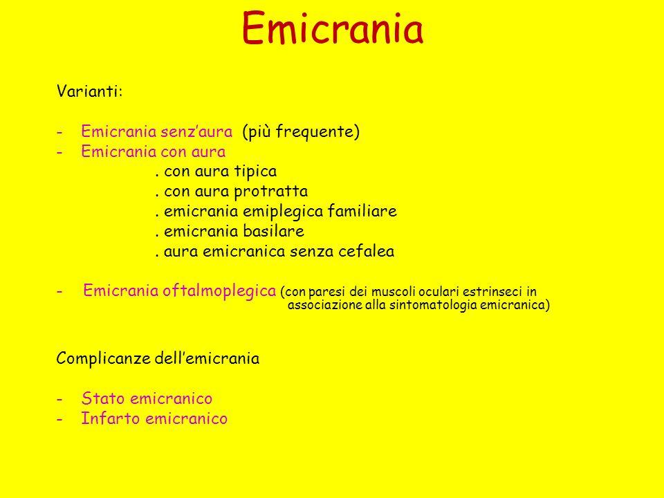 Emicrania Varianti: -Emicrania senzaura (più frequente) -Emicrania con aura. con aura tipica. con aura protratta. emicrania emiplegica familiare. emic