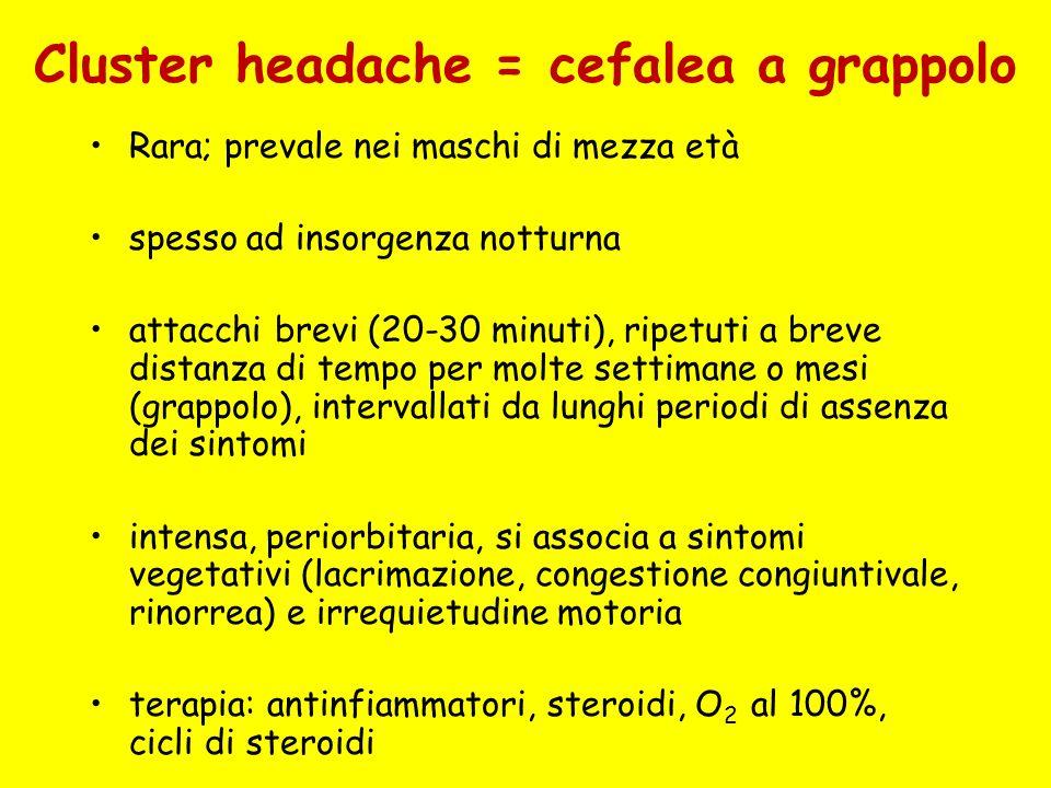 Cluster headache = cefalea a grappolo Rara; prevale nei maschi di mezza età spesso ad insorgenza notturna attacchi brevi (20-30 minuti), ripetuti a br