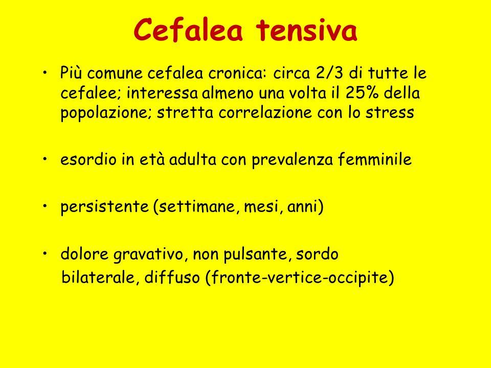 Cefalea tensiva Più comune cefalea cronica: circa 2/3 di tutte le cefalee; interessa almeno una volta il 25% della popolazione; stretta correlazione c