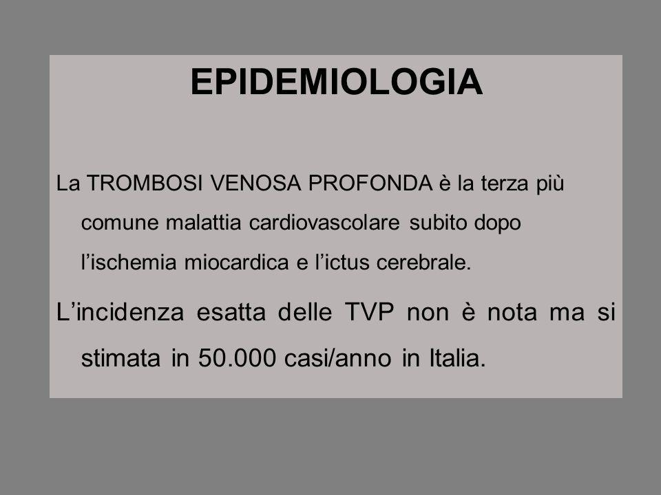 EPIDEMIOLOGIA La TROMBOSI VENOSA PROFONDA è la terza più comune malattia cardiovascolare subito dopo lischemia miocardica e lictus cerebrale. Linciden