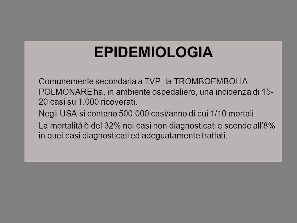 EPIDEMIOLOGIA Comunemente secondaria a TVP, la TROMBOEMBOLIA POLMONARE ha, in ambiente ospedaliero, una incidenza di 15- 20 casi su 1.000 ricoverati.