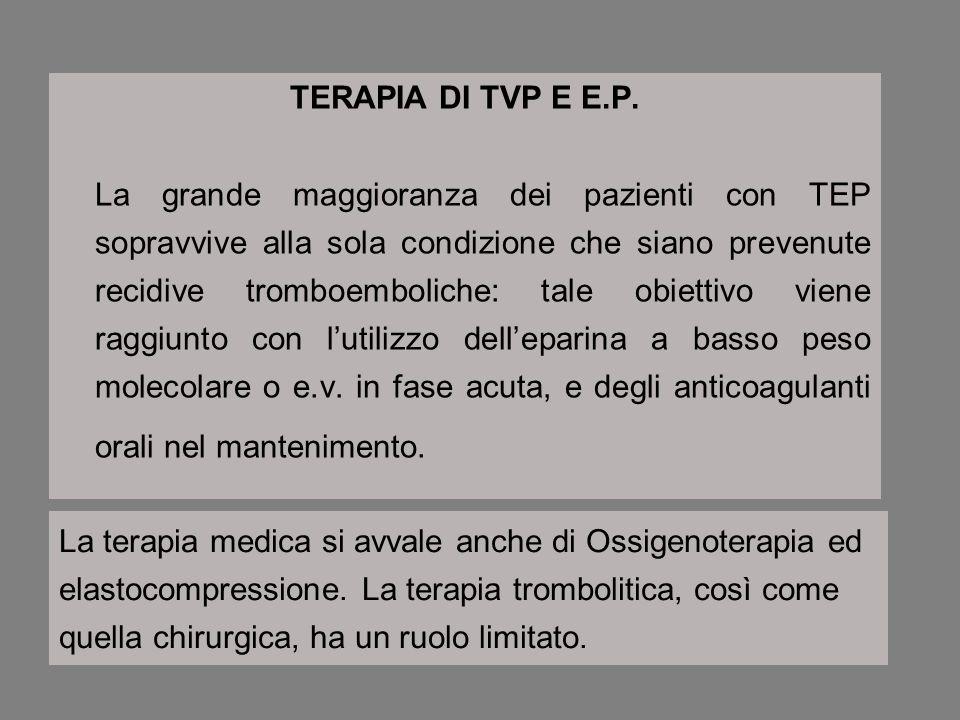 TERAPIA DI TVP E E.P. La grande maggioranza dei pazienti con TEP sopravvive alla sola condizione che siano prevenute recidive tromboemboliche: tale ob