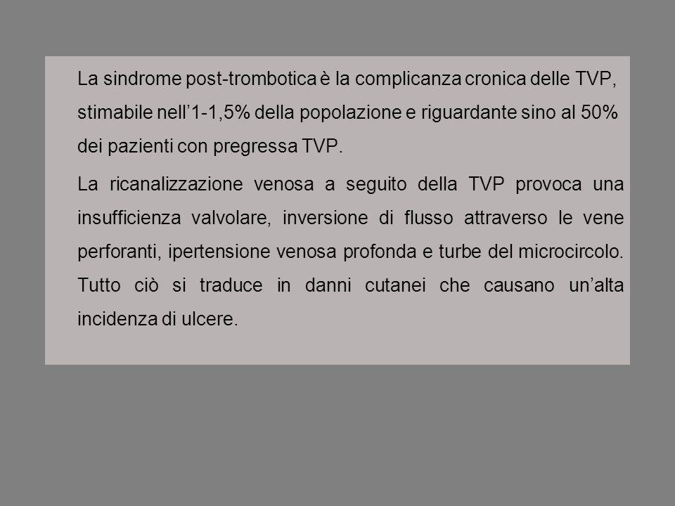 La sindrome post-trombotica è la complicanza cronica delle TVP, stimabile nell1-1,5% della popolazione e riguardante sino al 50% dei pazienti con preg