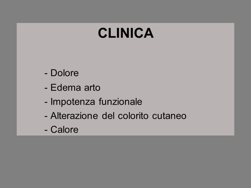 CLINICA - Dolore - Edema arto - Impotenza funzionale - Alterazione del colorito cutaneo - Calore