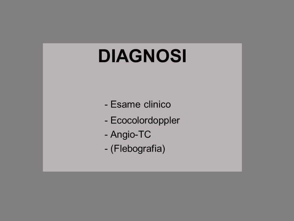 DIAGNOSI - Esame clinico - Ecocolordoppler - Angio-TC - (Flebografia)