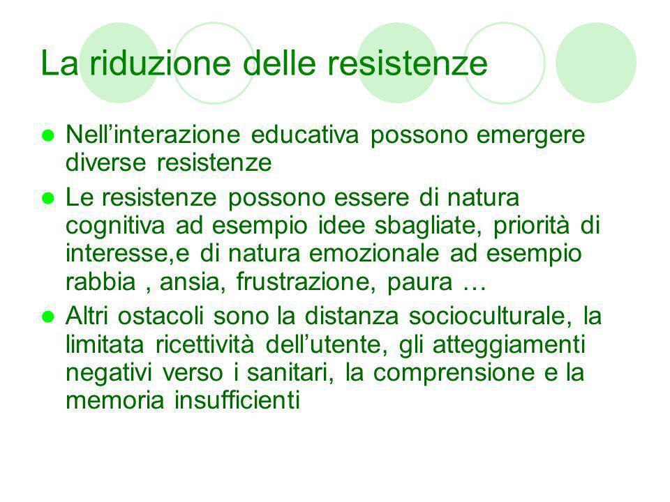 La riduzione delle resistenze Nellinterazione educativa possono emergere diverse resistenze Le resistenze possono essere di natura cognitiva ad esempi