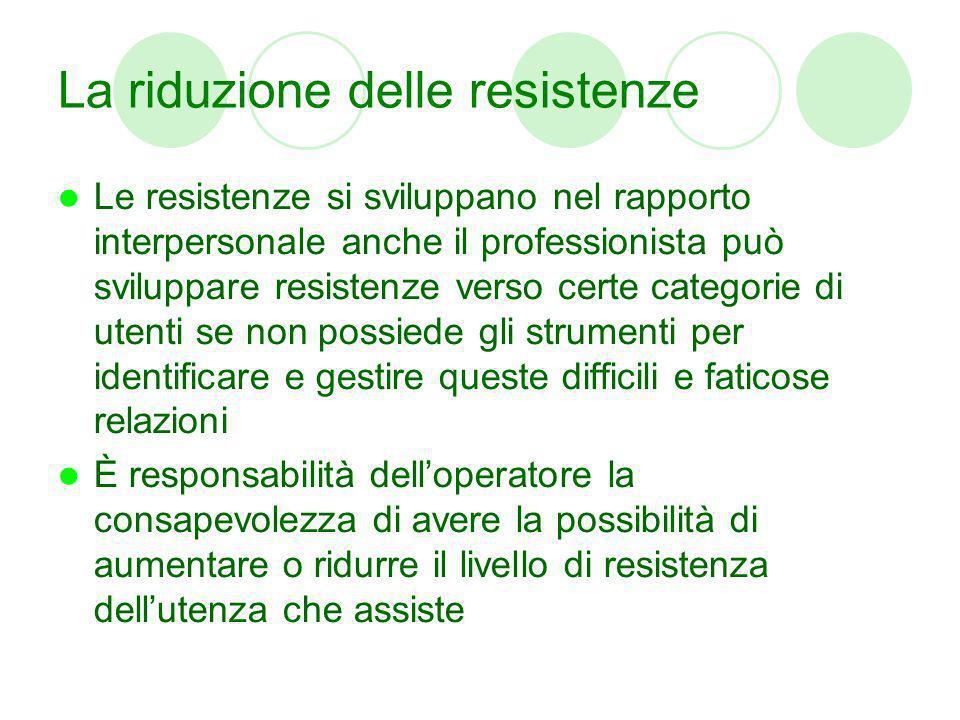 La riduzione delle resistenze Le resistenze si sviluppano nel rapporto interpersonale anche il professionista può sviluppare resistenze verso certe ca
