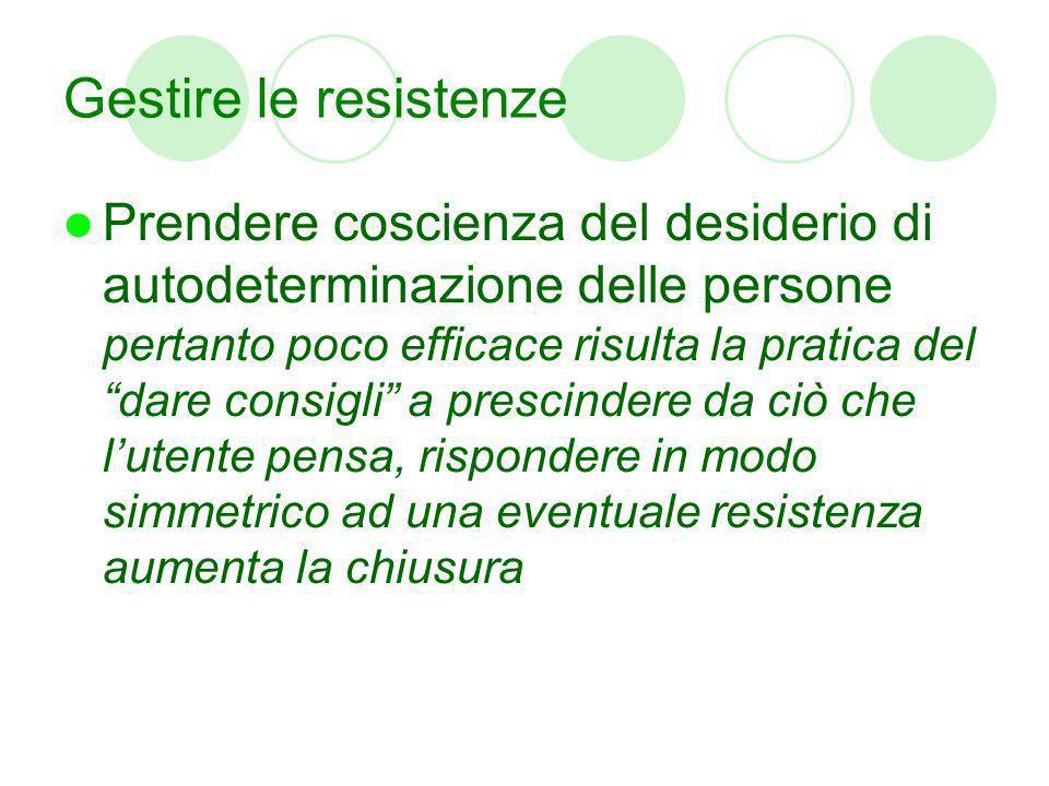 Gestire le resistenze Prendere coscienza del desiderio di autodeterminazione delle persone pertanto poco efficace risulta la pratica del dare consigli