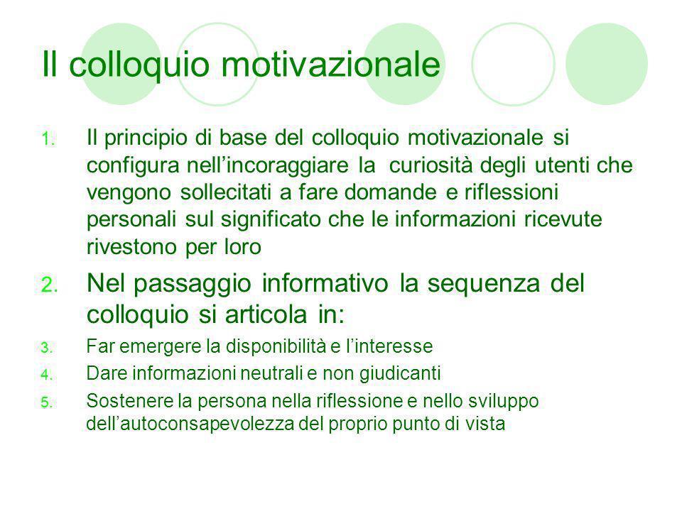 Il colloquio motivazionale 1. Il principio di base del colloquio motivazionale si configura nellincoraggiare la curiosità degli utenti che vengono sol